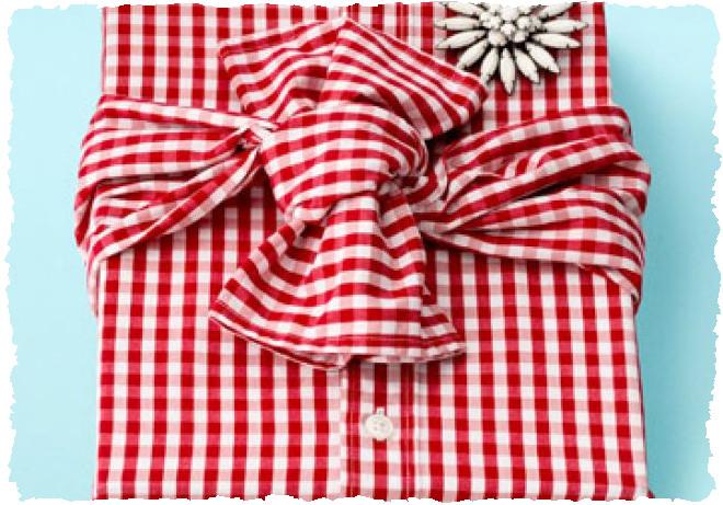 Подарок упакованный в мужскую рубашку