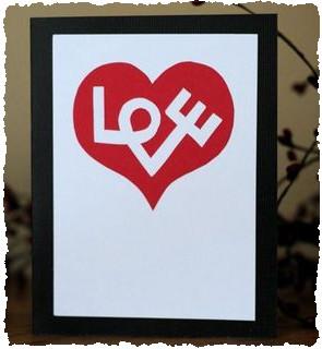Открытка для дня святого Валентина с оригинальной надписью Love
