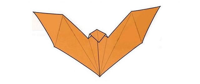 """Раскройте заготовку – оригами """"летучая мышь"""" готов"""