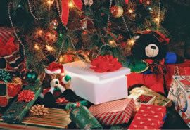 Яркие новогодние подарки под ёлкой