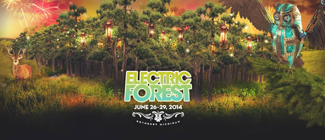 Изображение сказочного леса фестиваля Electric Forest