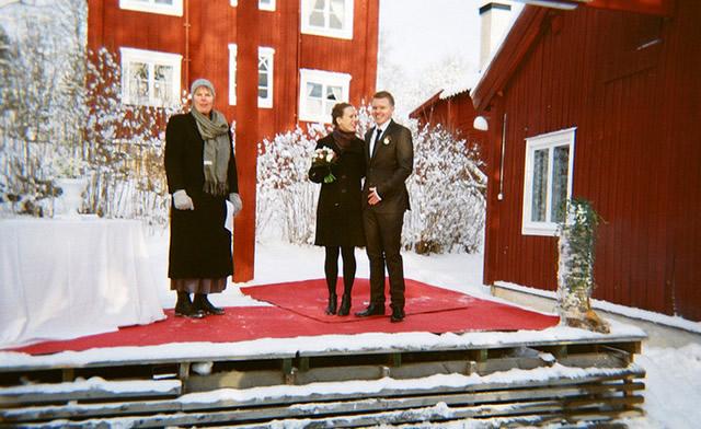 Церемония свадьбы в снегах